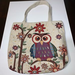 Handbags - Embroidered Owl Tote